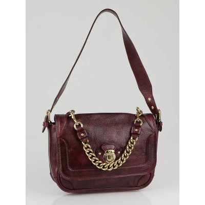 Marc Jacobs Bordeaux Leather Soft Box Flap Bag