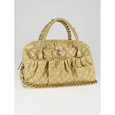 Marc Jacobs Natural Quilted Patent Leather Julianne Bowler Bag
