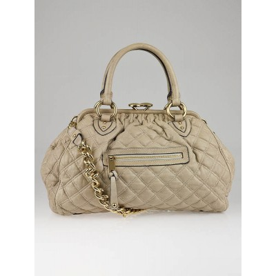 Marc Jacobs Beige Quilted Lambskin Leather Stam Bag