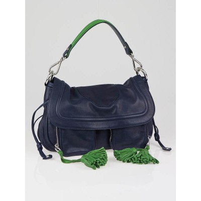 Marc Jacobs Blue Lambskin Leather Angela Shoulder Bag