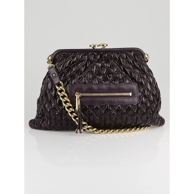 Marc Jacobs Plum Elastic Quilted Calfskin Leather Mina Stam Bag
