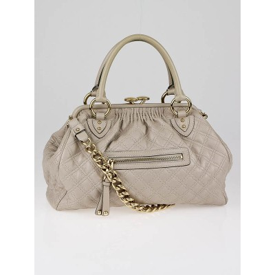 Marc Jacobs Putty Quilted Leather Stam Bag