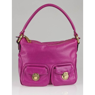 Marc Jacobs Fuchsia Leather Too Pocket Hobo Bag