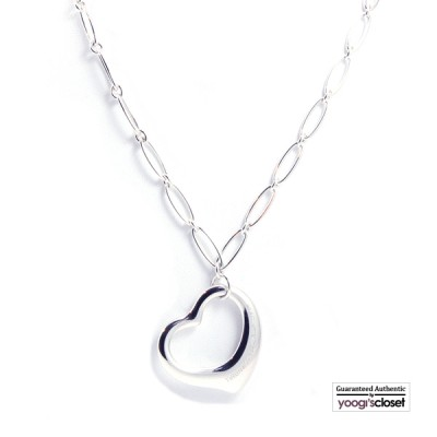 Tiffany & Co. Silver Elsa Peretti Large Link Open Heart Necklace
