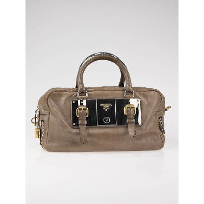 Prada Nudo Glace Zippers Satchel Bag