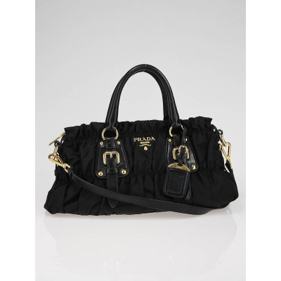 Prada Black Tessuto Gauffre Nylon Ruched Bag BN1407
