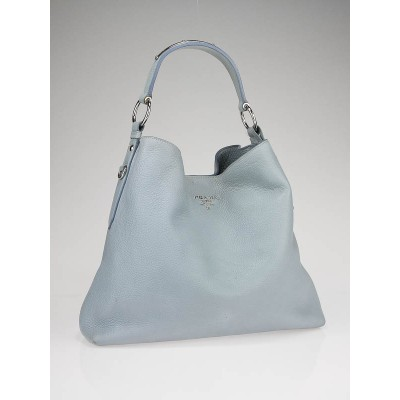 Prada Pervinca Blue Vitello Daino Leather Shoulder Bag BR3980