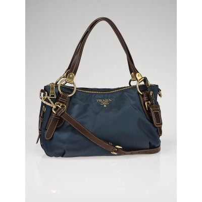 Prada Denim Blue Tessuto Nylon and Nappa Leather Bauletto Bag BR4261