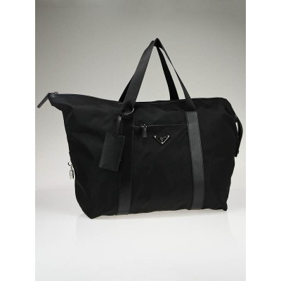 Prada Black Tessuto Nylon and Saffiano Leather Overnight Bag