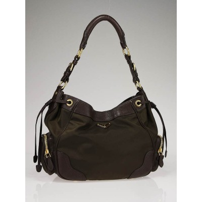 Prada Dark Khaki Tessuto Nylon and Leather Shoulder Bag BR3634