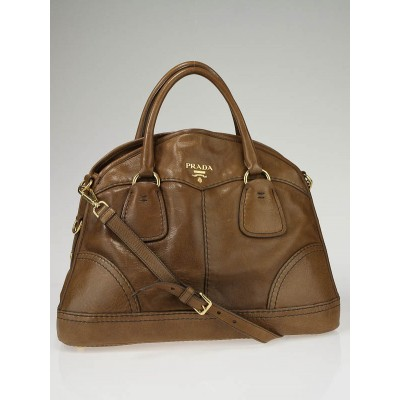 Prada Nocciolo Cervo Leather Shine Bauletto Bowler Bag BL0688