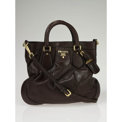 Prada Brown Cervo Leather Small Tote Bag