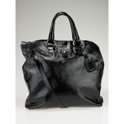 Prada Black Textured Patent Leather Tote Bag w/Strap