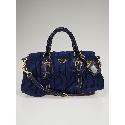 Prada Blue Tessuto Gauffre Nylon Ruched Bag BN1407