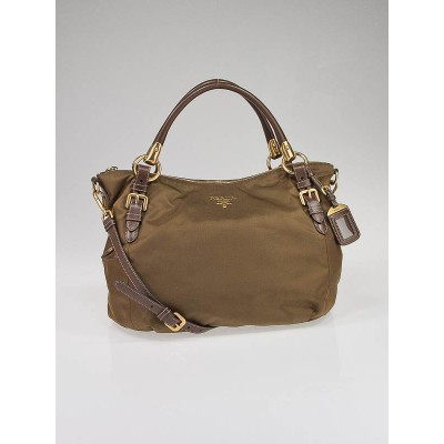 Prada Khaki Nylon and Brown Leather Tote Bag