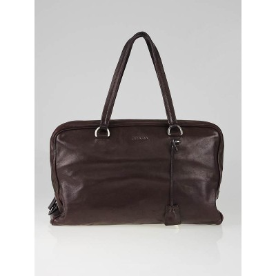 Prada Burgundy Leather Large Satchel Bag