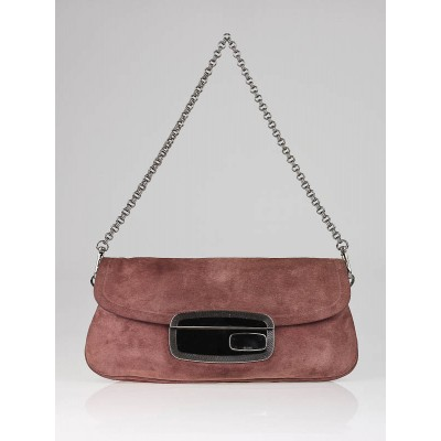 Prada Mauve Suede Mirror Clutch Bag