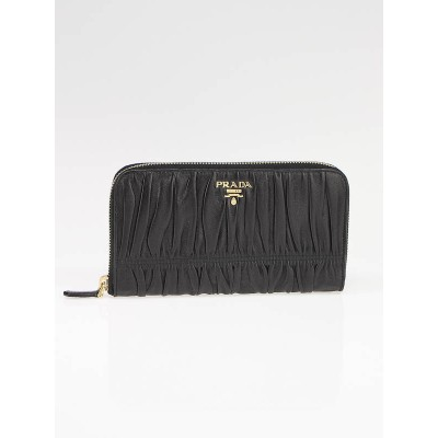 Prada Black Nappa Leather Gauffre Long Zippy Wallet 1M0506
