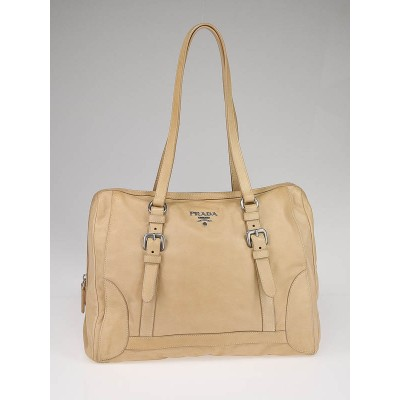 Prada Tan Nappa Leather Delave Bauletto Bag BL0498