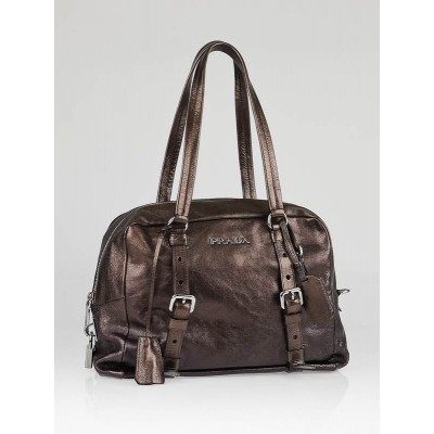 Prada Rame Mordore Glace Leather Bauletto Satchel Bag BL0507