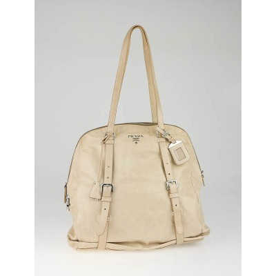 Prada Beige Leather New Look Tote Bag BL0499