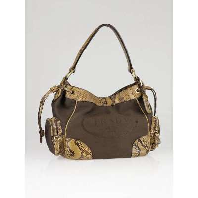 Prada Brown Jacquard Logo Canvas and Python Shoulder Bag