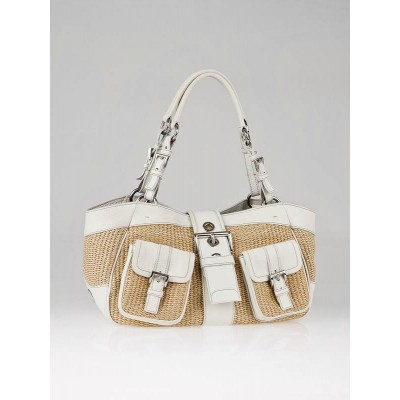 Prada White Leather/Straw Satchel Bag