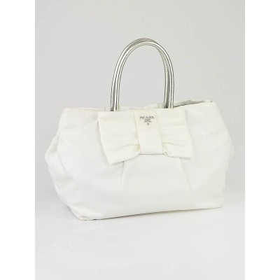 Prada White Nylon Bow Small Tote Bag