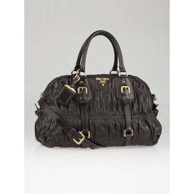 Prada Dark Brown Nappa Leather Gauffre Shopping Tote Bag