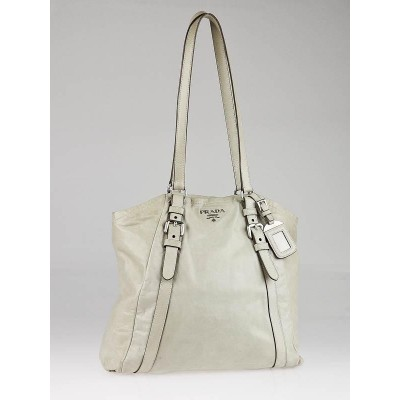Prada White Leather New Look Shopping Tote Bag