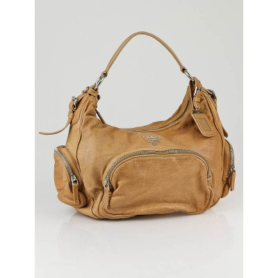 Prada Beige Washed Leather Multi-pocket Shoulder Bag BR3305