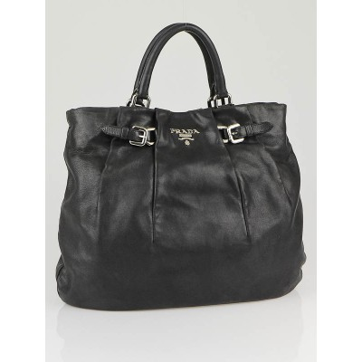 Prada Black Leather Calfskin Sacca Tote Bag