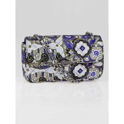 Prada Blue Multicolor Floral Print Quilted Fabric Shoulder Bag BR4618