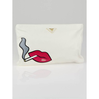 Prada White Nappa Leather Cigarette and Lips Oversize Clutch Bag BP521B