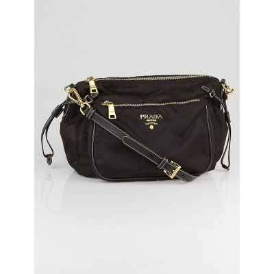 Prada Dark Brown Tessuto Nylon Crossbody Sling Bag
