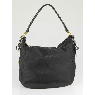 Prada Black Tessuto Nylon Logo Large Hobo Bag