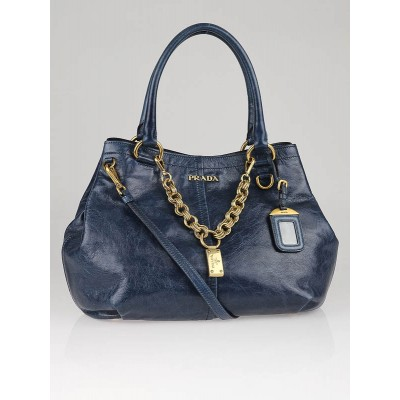 Prada Blue Vitello Shine Leather Chain Tote Bag