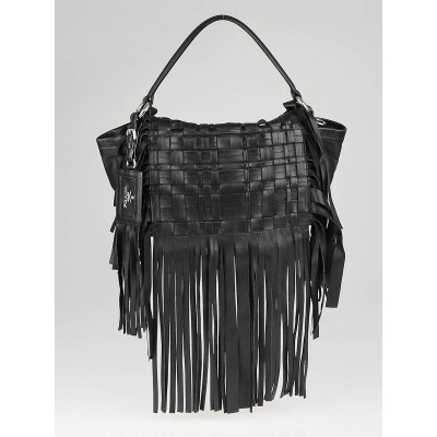 Prada Black Woven Nappa Leather Fringe Crossbody Bag