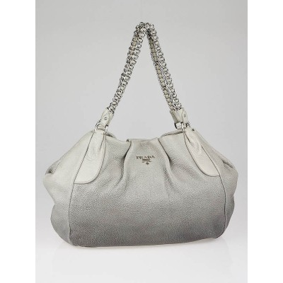 Prada Grey Degrade Cervo Lux Chain Shoulder Bag