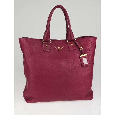 Prada Ametista Deerskin Leather Large Shopping Tote Bag BR4749