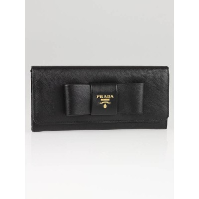 Prada Black Saffiano Leather Bow Long Wallet 1M1132