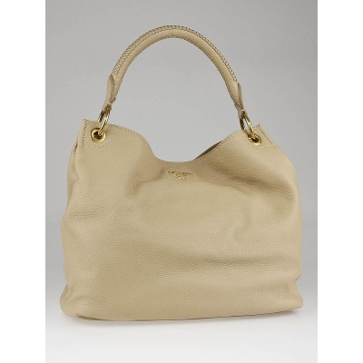 Prada Sabbia Vitello Daino Leather Hobo Bag BR4712
