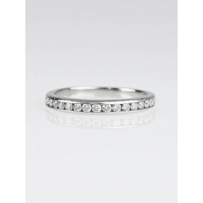 Tiffany & Co. 2mm Platinum Channel Set Diamond Band Size 4