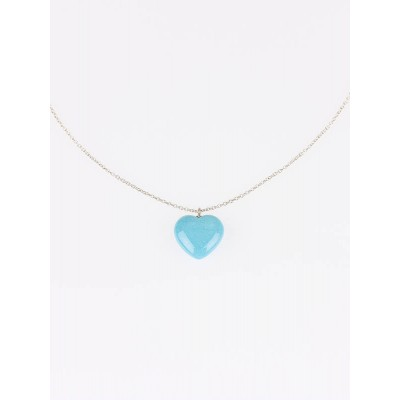 Tiffany & Co. Sterling Silver and Turquoise Elsa Peretti Solid Heart Pendant