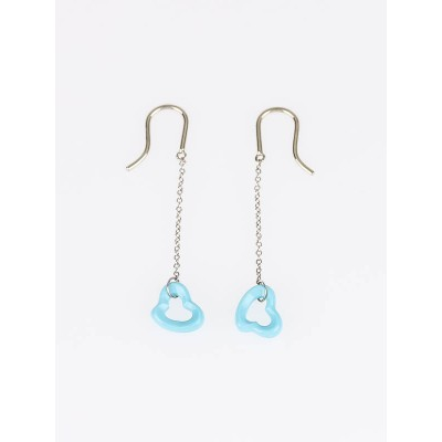 Tiffany & Co. Sterling Silver and Turquoise Elsa Peretti Open Heart Earrings