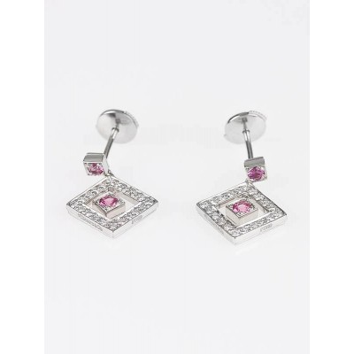 Tiffany & Co. Platinum Pink Sapphire and Diamond Open Square Drop Earrings