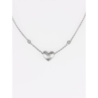Tiffany & Co. 18k White Gold Paloma Picasso Hammered Heart Pendant