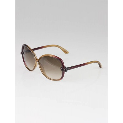Tom Ford Brown/Red Frame Gradient Tint Ingrid Sunglasses-TF163