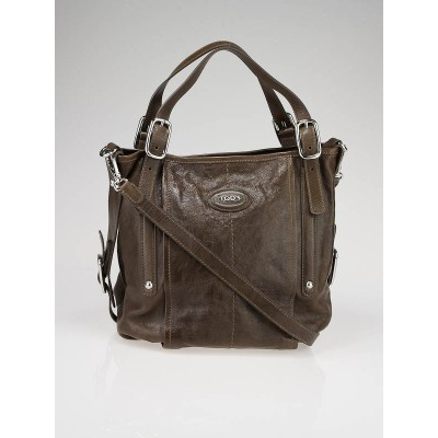 Tod's Brown Leather G-Bag Sacca Media Tote Bag