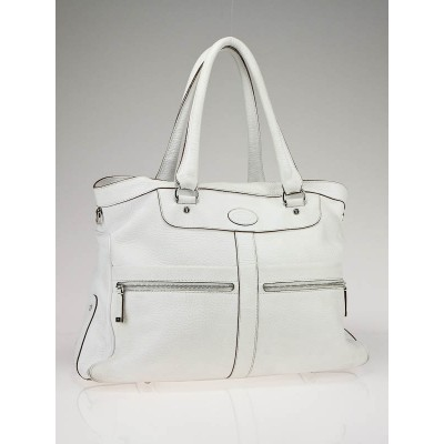 Tod's White Leather Dual Zipper Shopper Tote Bag